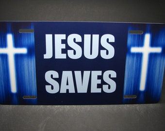 JESUS SAVES Metal Aluminum License Plate tag for Cars Religious Christian Cross faith