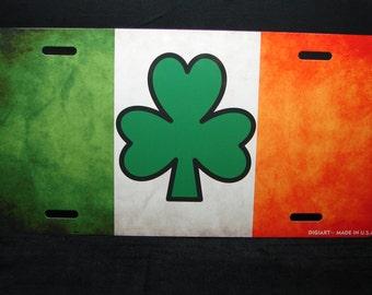 IRISH FLAG With SHAMROCK Custom metal novelty License for cars. Ireland