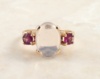 Ladies 14K Yellow Gold Moonstone and Amethyst Ring
