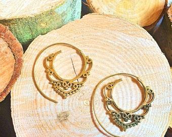 Brass  spiral Earrings, Boho Earrings, Tribal Earrings, Hoop Earrings, Brass Earrings, Gypsy Earrings, Tribal Belly Dance Jewellery.