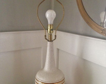 Mid Century Modern Table Lamp Ceramic Pottery Gold Retro Vintage