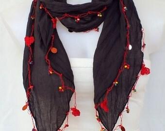 Soft cotton scarf Smoky scarf Turkish Oya crochet scarf Crochet necklace Boho scarf Lariat scarf Fashion women accessories Gift ideas