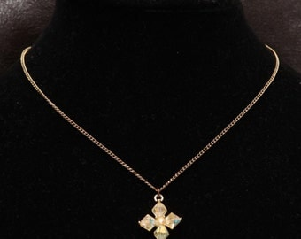 Faceted Glass Crystal Cross Silver Tone Pendant w/ Chain Necklace