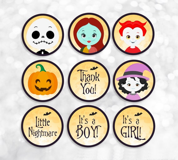 Nightmare Before Christmas Printable Party Tags Stickers