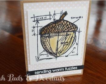 Winter & Fall Greeting Card, Sending Warm Fuzzies, Hand Stamped Card, Watercolor Card, Handmade Card, Greeting Card