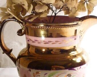 Antique Copper Lustreware Pitcher Jug - Pink Floral Design