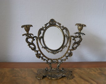 19th century antique victorian table mirror and candle holder