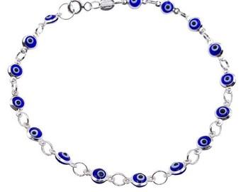 Evil Eye Bracelet Mini Sterling Silver Charm Bracelet #9051