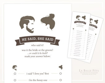 BRIDAL SHOWER GAME He Said She Said / Beard and Topknot bride and groom silhouettes