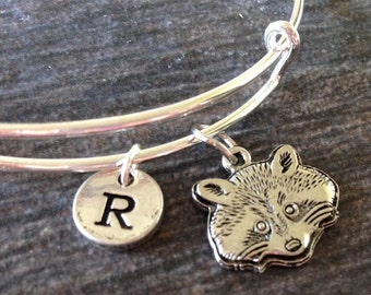 Racoon Bangle, Racoon Bracelet, Racoon Jewelry, Personalized bangles, Personalized Jewelry
