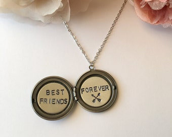 Best Friends Locket.Antique Elephant Locket Necklace.