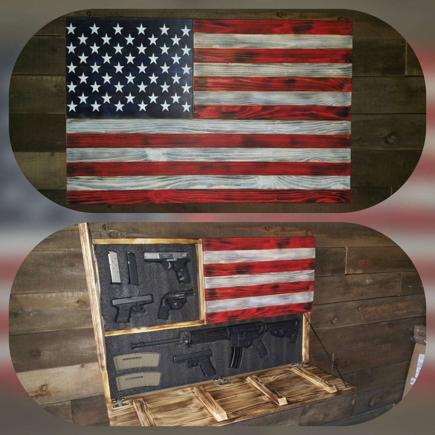 Large Burnt American Red White And Blue Concealed Weapon Flag