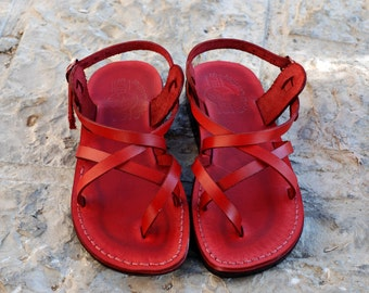 Women's Shoes - summer sandals - Leather sandal - Red Greek Handmade flat sandal