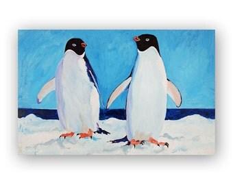Animal Painting Print Wall Art - Penguin Wall Art Print of Original Fine Art Acrylic Painting on Canvas