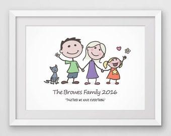 Stick family art, custom illustration, stick figure family, family portrait