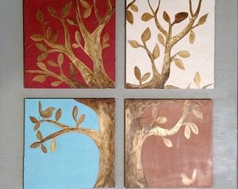 Original painting, Acrylic,  The  tree of the four seasons