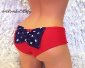 4th of July Bikini American Flag Cheeky Stars & Stripes Cheeky Butt Booty Bow Bathing Suit Red White Blue Cheeky Brazilian Swimsuit Bottom