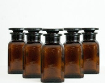 5 x 100 ml Amber Apothecary Jars (3.4 fl oz)