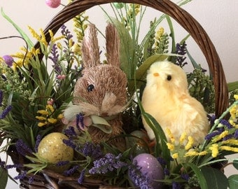 Easter Basket, Floral Arrangement, with the Easter Bunny, and Easter Chick