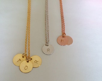 Disc Necklace Dainty Necklace, Bridesmaid Gifts Rose Gold initial Necklace Birthday Gift Personalized Jewelry