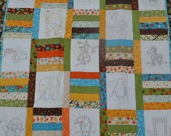 Animal baby quilt stitchery pattern