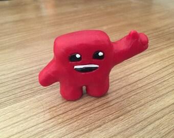 Handmade Super Meat Boy Sculpture
