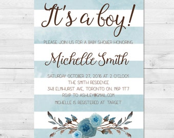 Baby Shower Invitation Boy, Fall Baby Shower Invitation, It's A Boy, Watercolor, Fall Colors, Floral, Baby Boy, Stripes, Blue, Maroon
