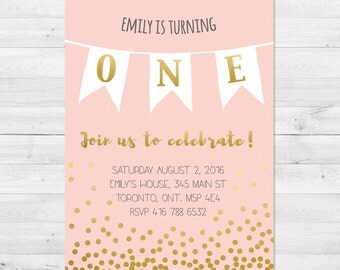 First Birthday Invitation Girl, Girl Birthday Invitation, Pink And Gold Invitation, Confetti First Birthday Invite