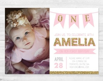 First Birthday Invitation Girl, Pink And Gold Birthday Invitation,  Photo Birthday Invitation, Sparkle, First Birthday Pink And Gold