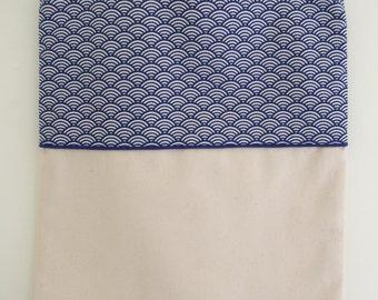 Blue Japanese fabric bag tote bag