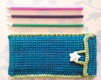 Crochet pencil case, school accessory, stationary, desk accessory, pencil holder, pencil storage, pencil bag, pencil pouch,