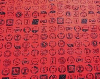 Postmark Print Red  Cotton Fabric Half metre