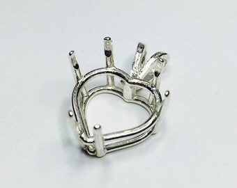 Sterling Silver Heart Cast Wire Prong Pre-Notched Pendant Setting (4x4-16x16mm). 161-090
