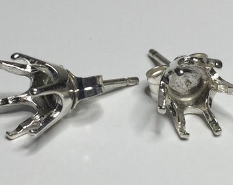 Two Round Six-Prong Stud Sterling Silver Pre-Notched Earring Setting (3mm-8mm) . 162-116
