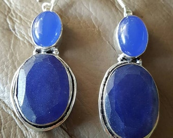 Blue Sapphire and Blue Chalcedony Earrings!