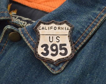 "Custom ""Hwy 395"" Leather Patch (White)"