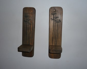 Pair of wooden  wall sconces
