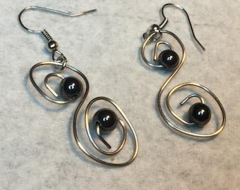 Stainless steel and metal bead earrings