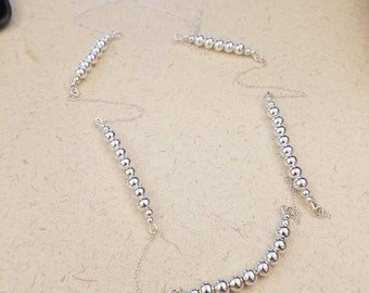 "30"" sterling silver chain and bead necklace"