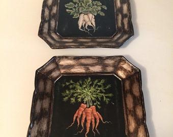 Set of two vintage Toyo plates - vegetable motif