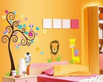 Owl; Lion; Zebra; Giraffe; Animals; Animal Decal; Animal Wall Decal; Tree Branch Decal; Home Nursery Decal; Baby Nursery Decal
