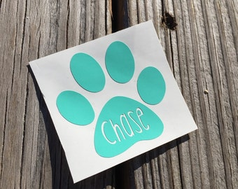 Paw Print Vinyl Decal | Dog Decal | Personalized Name Puppy Decal | Puppy Sticker | Custom Decal | Yeti Cup Decal  | Custom Vinyl Sticker