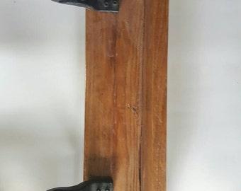 SALE Handmade shelf with vintage hooks
