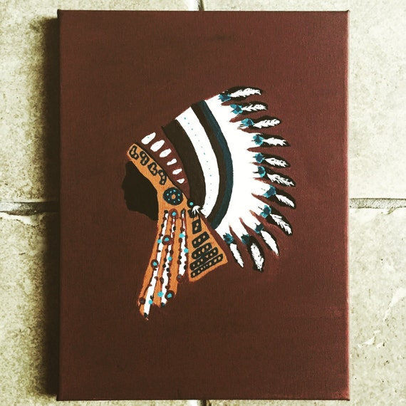 Hand painted Native american canvas painting