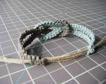 Infinity Hemp Bracelet - Mint Green - Natural and Adjustable