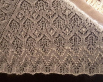 Hand knit wool shawl