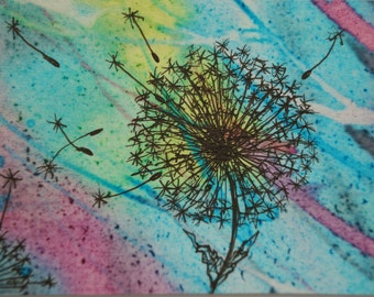 Dandelion ACEO Original Screen Printed Art Card. Procion Dye and Ink. Collectable, Small Gift.
