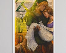 Zelda decor newspaper print art colorful poster