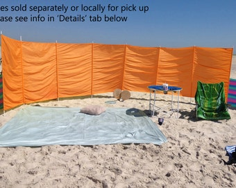 Windscreens - 5' - Nylon - Orange - Wind blocker - Warmer - Privacy - Extend Season - Super Screens - Made to order - Poles Separate
