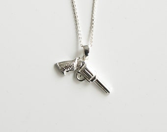 Necklace sterling silver pistol